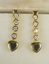 18K Yellow Gold Plated Black or Yellow Sapphire Dangle Bezel Heart Stud Earrings