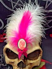 ZOMBIE,CORPSE + PINK FEATHER HAIR CLIP...Goth,Lolita,Steampunk,Rockabilly,Pin-Up