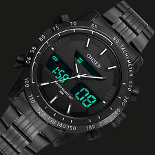 OHSEN Mens Quartz Wrist Watch Chrono Army Sport Stainless Steel LED Digital 3ATM