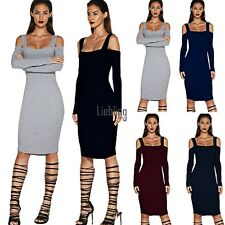 Women Sexy Bandage Backless Long Sleeve Evening Party Pencil Bodycon Mini LEBB01