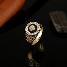 Micro-Pave CZ Medusa Iced Out Bling 18K Gold Plated Size 7-12 Women Men Ring