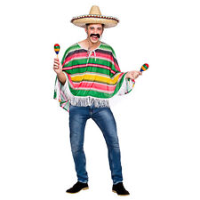 Mens Mexican Bandit Poncho Costume Hombre Cowboy Western Mexico Fancy Dress