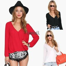 Fashion Women Casual V-Neck Long Sleeve Asymmetric Chiffon Solid Blouse LM02