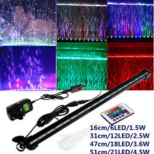 Air Bubble RGB Remote Aquarium Fish Tank 12V LED LightBar  Submersible UK LE