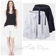 Ex Next Linen Navy White Summer Holiday Loose Fit Tie Belt Shorts 8-18 NEW