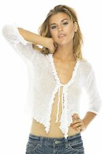 Back From Bali Womens Sheer Shrug Cardigan Sweater Ruffle Lightweight Knit