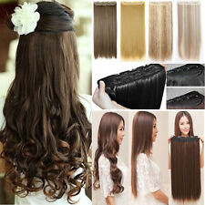 100% Long Thick 1 PC Clip in Hair Extensions Straight Curly Wavy as Human Remy T