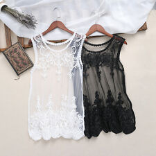Women Elegant Floral Lace Vest See Through Blouse Casual Tank Tops T-Shirt