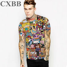 Men's cartoon fashion 3D print short-sleeved casual bottoming Round neck T-shirt