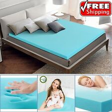 "Cool Gel Memory Foam Topper 2"" Thick Cooling Conforming Comfort Mattress Bed Pad"