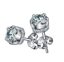 FASHIONS FOREVER® 925 Sterling Silver Crystal Around Crown AAA-CZ Stud Earrings