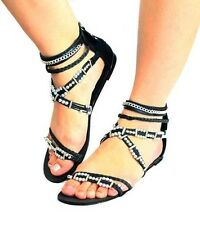 Ladies flat strappy sandals with beaded pearl detail