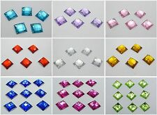 100 Flatback Acrylic Square Sewing Rhinestone Sew on bead 14mm Pick Your Colour