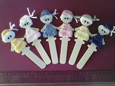 Dolly wooden 3D Bookmark Soooooo Cute Unique with Hand knitted dresses and hats