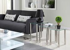 Nest of 3 Black or Clear Glass Tables Side End Modern Table Set Chrome Legs