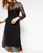 ZARA Black Lace Long Sleeve Midi Dress M Medium UK 10 BNWT