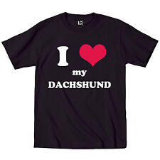 I Heart Love My Daschund, Dog Weiner Dog Breed Puppy Pet Parent Mens T-Shirt