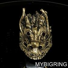 HUGE BRONZE MEN'S MEDIEVAL RING BIG DRAGON HEAD WITH RED GARNET EYES ANY SIZE