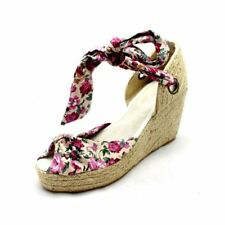 Pink Floral canvas wedge heel sandals with ankle tie