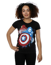 Marvel Women's Captain America Civil War Painted Vs Iron Man T-Shirt