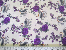 Discount Fabric Challis Rayon Purple Floral Gray Paisley 2 yds @ $6.99 J403