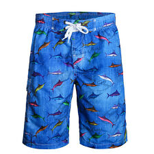 Mens Summer Swim Shorts Trunk Fish Pattern Beach Surf Board Shorts Swimwear Pant