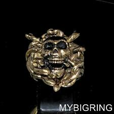 STUNNING BRONZE SKULL GOTHIC RING MEDUSA HEAD WITH SNAKES ANTIQUED ANY SIZE