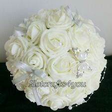Sweet Wedding Bridal/Bridesmaids Bouquets Roses Flowers W Pearls Ribbon Decor