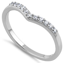 925 Sterling Silver Cubic Zirconia CZ Heart V Shape Ring Wedding Band Stackable