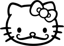 Hello Kitty - Mustache - Vinyl Car Window and Laptop Decal Sticker