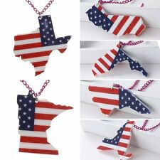 Women Men Fashion Resin Printing USA State Map Pendant Necklace Chain Jewelry