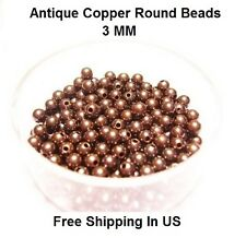 3 MM Antique Copper Round Hollow Beads Hole 1.0 MM (Genuine Solid Copper)