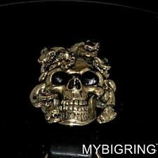 BRONZE MENS GOTHIC RING SKULL OF THE MEDUSA WITH SNAKES ANTIQUED ANY SIZE