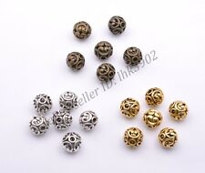 1-100Pcs Tibetan Silver Round Shaped Heart Hollow Spacer Bead Findings 11mm