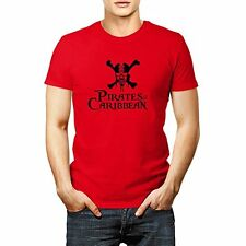 Mens Pirates Of The Caribbean Black Logo Classic Red T Shirt