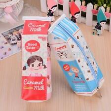 Cute Milk Shape Pencil Case Bag Pen Case Leather Zipper Makeup Pouch Stationary
