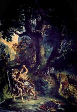 French Romantic Biblical Art Print: Jacob Wrestling the Angel by Delacroix