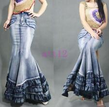 Casual Womens Retro Fishtail Gown Jeans Denim Ultra Maxi Long Skirts Sexy Dress