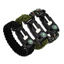 Multi-function Chain Bracelet Outdoor Living Compass Whistle Flint Rope