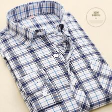 Mens New Oxford Long Sleeve Slim Non-iron Business Casual Dress Shirt NEW UK