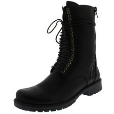 Womens Mid Calf Lace Up Zip Punk Rock Combat Military Retro Army Boots UK 3-10
