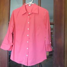 """Womens Button Down Blouse/Top """"J. CREW"""" Fitted Size Large Orang/Peach 3/4 Sleeve"""
