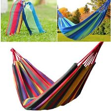 Portable Cotton Rope Fabric Hammock Canvas Swing Camping Hanging Bed Air Chair