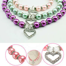 Fashion Pet Dog Cat Puppy Pearl Jewelry Collar Necklace Heart Pendant