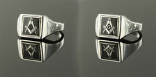 Solid Silver Square and compass Reversible Masonic ring- Black