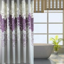 """71"""" Fabric Bathroom Shower Curtain With Hooks Mirage Purple White Floral Flowers"""