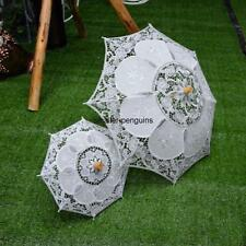 White Lace Children Kids Flower Girls Battenburg Parasol Wedding Party Umbrella