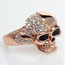 Iced Out Made with Swarovski Crystal Pink Skull Rose Gold Plated Women S6-9 Ring