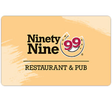 Ninety Nine Restaurants Gift Card - $25 $50 or $100 - Fast Email delivery
