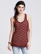 NEW Banana Republic Womens Shirt Tank Diamond Lace T Back Black Claret S M XL